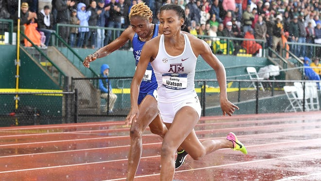 Sammy Watson holds off Abike Egbeniyi  to win the women's 800 at the NCAA Division I Outdoor Track and Field Championships.
