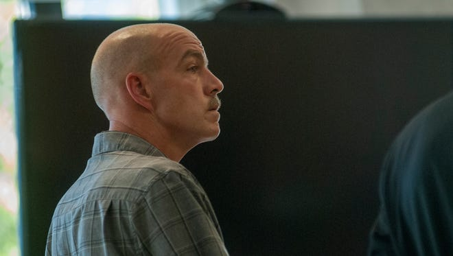 Former city employee Chad Shappee listens to the proceeding Monday, Sept. 19, during a hearing in Judge Lane's courtroom.
