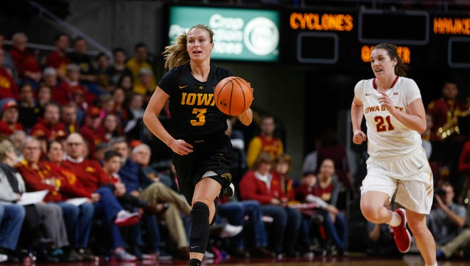 Iowa sophomore Makenzie Meyer moves the ball up the court against Iowa State on Wednesday, Dec. 6, 2017, at Hilton Coliseum in Ames.