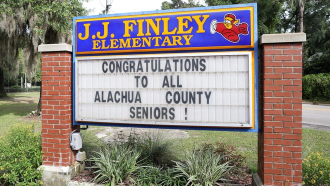 The entrance of J.J. Finley Elementary School in Gainesville in early June. A committee met Monday morning to discuss possible names for the school. J.J. Finley was a confederate general.