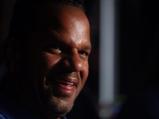 Andre Reed speaks Friday night in Canton.