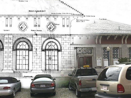 Original architectural drawing by T.J. Collins and Sons of the train station from the archives of Historic Staunton Foundation overlaid on a photograph taken Tuesday, October 4, 2005.