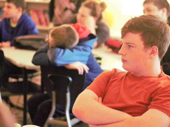 River Valley student Jason Malone waits patiently to