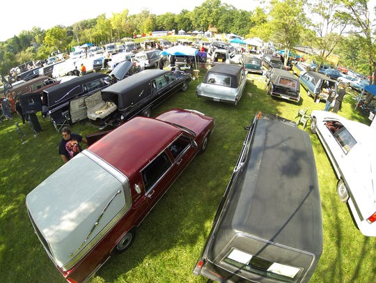 Hearses at the 13th Annual Hearse Fest in Hell. The event has been officially cancelled this year for lack of a permit, although organizers note they can't stop hearses from coming to Hell.