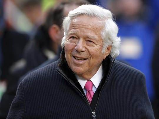 In this Jan. 20, 2019, file photo, New England Patriots owner Robert Kraft walks on the field before the AFC Championship NFL football game in Kansas City, Mo.
