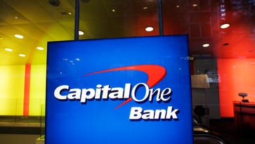 File photo taken in 2012 shows the logo of Capital One Bank at a branch in New York City.