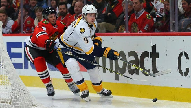 The Predators were only able to score on two of their 43 shots against the Blackhawks on Tuesday.