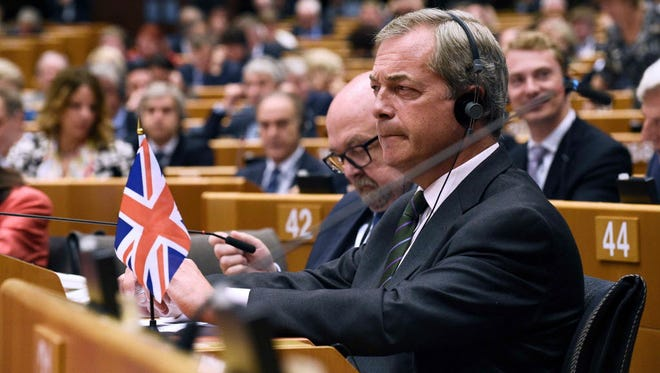 U.K. Independence Party leader Nigel Farage attends a plenary session at the European Union's headquarters in Brussels on June 28.