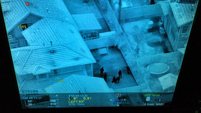 An aerial view from a Ventura County Sheriff's helicopter unit of north Oxnard early Saturday morning, where four people were arrested.