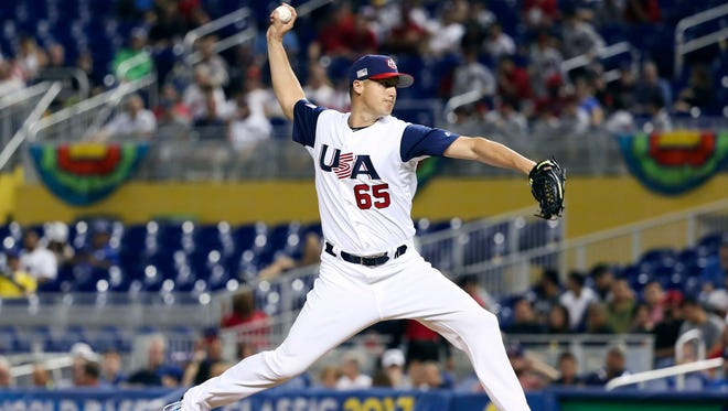 USA pitcher Nate Jones (65) throws a pitch in the ninth inning against Canada during the 2017 World Baseball Classic at Marlins Park on March 12.