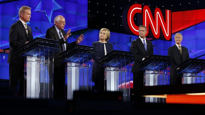 Jim Webb, Bernie Sanders, Hillary Clinton, Martin O'Malley and Lincoln Chafee take part in the Democratic presidential debate in Las Vegas on Oct. 13, 2015.
