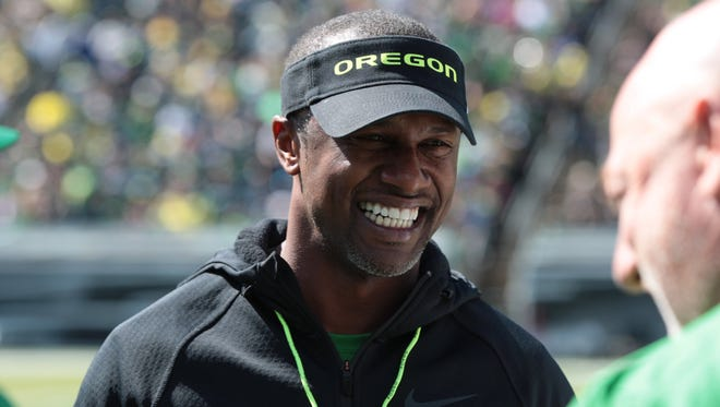 Apr 29, 2017; Eugene, OR, USA; Oregon head coach Willie Taggart walks on the field before the game at Autzen Stadium. Mandatory Credit: Scott Olmos-USA TODAY Sports
