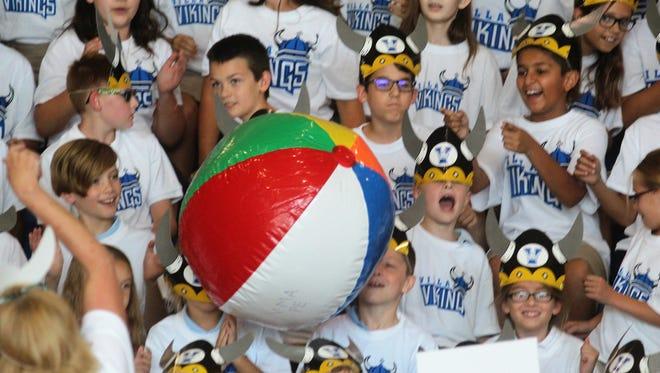 Villa Madonna Academy students celebrate their new Viking mascot August 23, 2018.