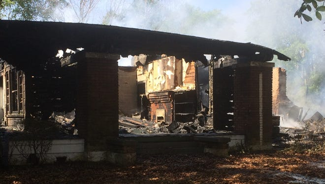 One of Lumberton's oldest homes was destroyed after it was struck by lighting Monday.