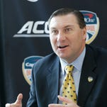 Mississippi State head coach Dan Mullen speaks during media day in this file photo.