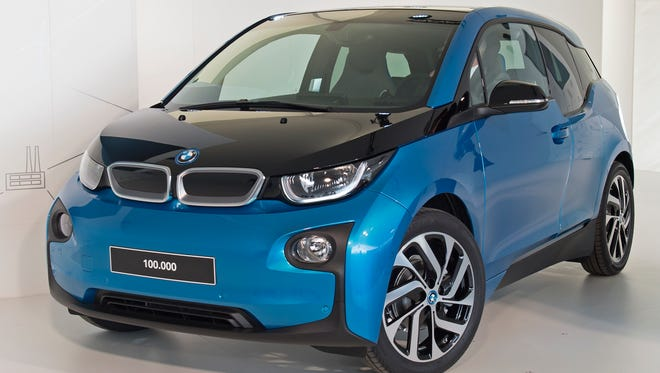 A BMW i3 is seen in Leipzig, Germany on Oct. 26, 2017. It has an all electric range of 114 miles and starts at $44,450, according to BMW.