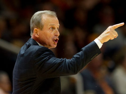 FILE - In this Dec. 9, 2017, file photo, Tennessee head coach Rick Barnes calls out to his team in the first half of an NCAA college basketball game against Lipscomb, in Knoxville, Tenn. Tennessee typically isn't a very hospitable host to defending national champions. A rare sellout crowd will try to make sure that pattern continues Sunday when No. 7 North Carolina faces the 20th-ranked Volunteers in Knoxville for the first time since 1949. (AP Photo/Calvin Mattheis, File)