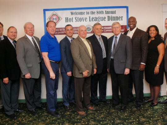 Five new members were inducted into the Union County Baseball Association during the annual 80th Annual Hot Stove Awards dinner on Feb. 21 at The Gran Centurions in Clark. From left: Freeholder Alexander Mirabella; Freeholder Angel G. Estrada; guest speaker and New York Yankees great Sparky Lyle; Union County Freeholder Chairman Bruce H. Bergen, inductee Damien Kane of Roselle; inductee Joe Alvarez of Elizabeth; inductee Wally Engelhardt of Elizabeth; inductee Ray Crepeau of Linden; guest speaker New York Jets Head Coach Todd Bowles; and Freeholders Linda Carter and Christopher Hudak. The late Bruce Henderson of Rahway also was inducted into the Hall of Fame.
