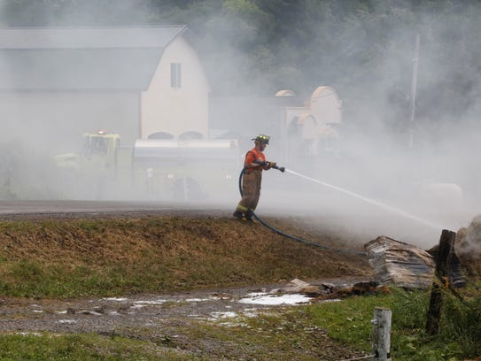 Firefighter responded to a rekindled fire at a beef