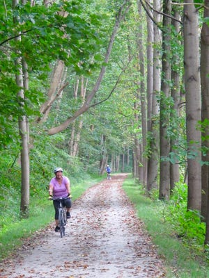 Riding the Great Allegheny Passage near McKeesport, Pa.