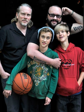 On his 60th birthday, legendary songwriter Desmond Child, top right, got tattoos with the names of his twin boys, Roman and Nyro. Getting inked meant memorializing his modern family, which includes his longtime partner, Curtis Shaw, top left.