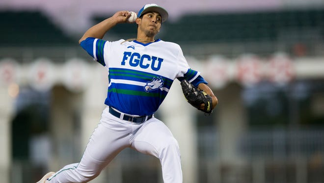 FGCU's Mario Leon pitches against Florida State University at JetBlue Park Wednesday, March 15, 2017 in Fort Myers, Fla.