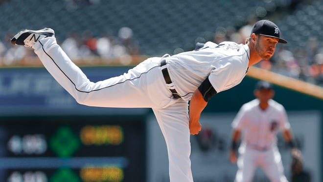 Detroit Tigers pitcher Shane Greene throws against the Cleveland Indians on April 24, 2016, in Detroit.