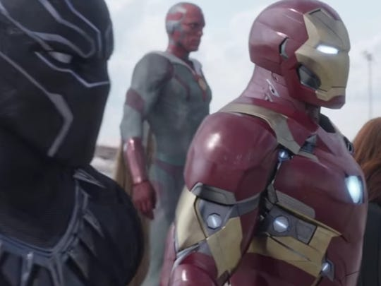 """Black Panther, left, joins Team Iron Man in """"Captain America: Civil War."""""""