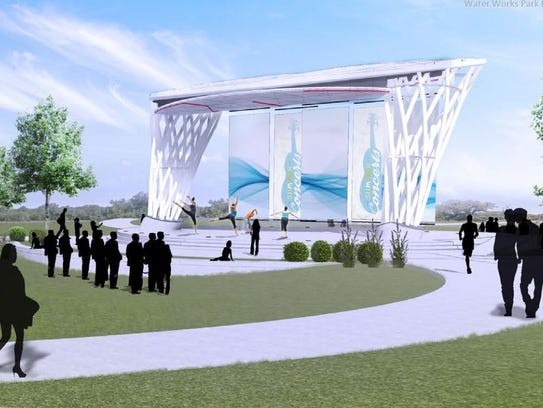 A view of the two-way amphitheater stage from the 30-acre