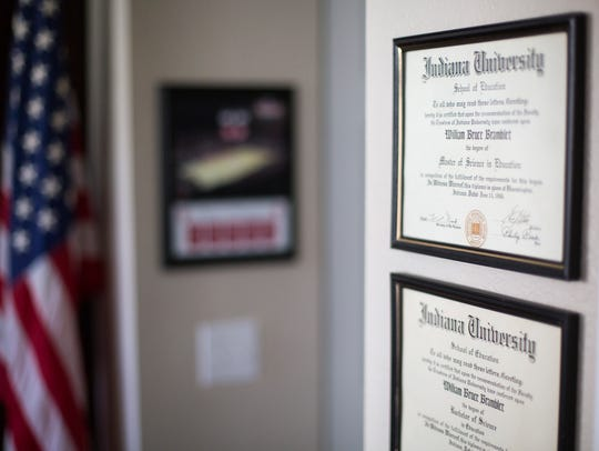 Commendations hang on walls in Army veteran William Bramblet's home office in North Naples.