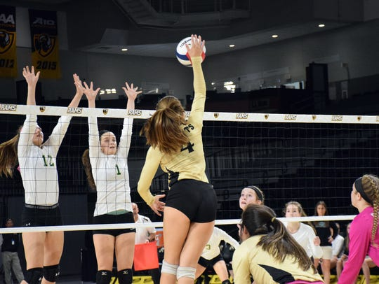 Radford's Trinity Adams was strong at the net and her