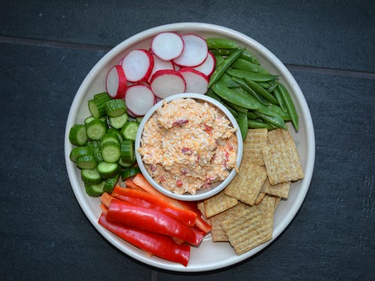 Homemade pimiento cheese makes a satisfying dip with crudites and crackers.