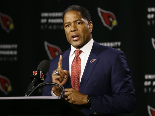 Steve Wilks was introduced as the new head coach of the Arizona Cardinals during a press conference on Jan. 23, 2018 at the Arizona Cardinals Training Facility in Tempe, Ariz. Wilks was the defensive coordinator with the Carolina Panthers.