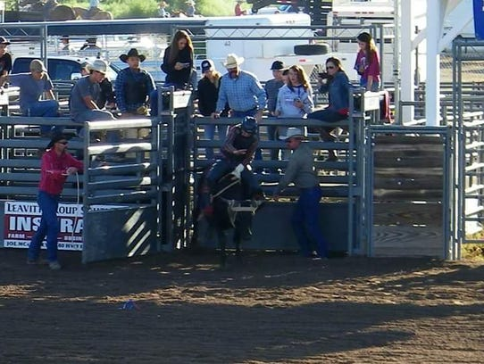 Jadaniah Tarpley, age 12, rides in the Junior Rodeo