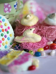 Marshmallow easter chicks and other treats. Monday,