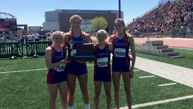 Parker's 4x200 relay team. From left: Mayson Preheim, Raelin Jurgens, Alexis Even and Karley Peters.