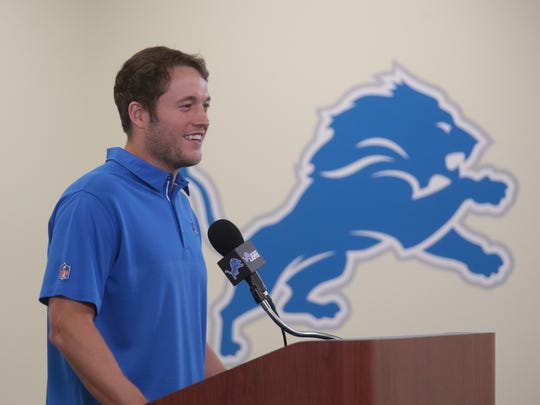 Detroit Lions quarterback Matthew Stafford speaks during a press conference at the Detroit Lions' practice facility in Allen Park on Tuesday August 29, 2017 after signing a five-year contract extension worth $135 million.