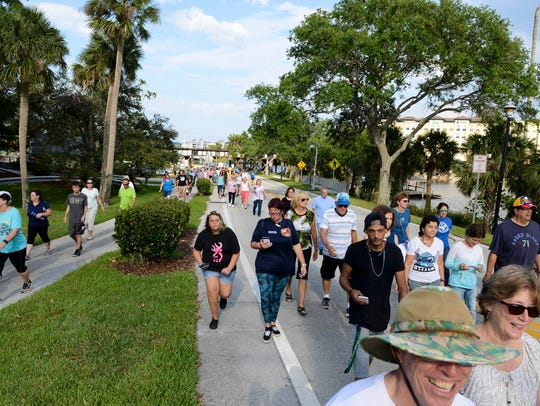 Hundreds of Brevardians joined FLORIDA TODAY Executive Editor Bob Gabordi and Melbourne Mayor Kathy Meehan for a community walk through downtown Melbourne, part of the Mayor's Fitness Challenge in this file photo.
