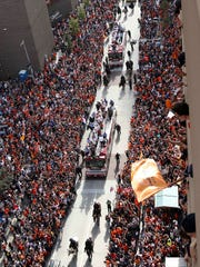 A general view as the Houston Astros celebrate during