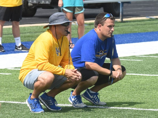 Mountain Home head coach Bryan Mattox (right) and assistant Chris Cudworth watch a recent practice.