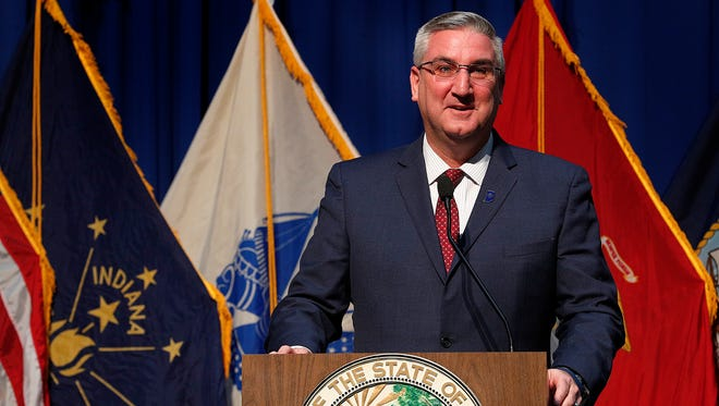 Indiana Governor Eric Holcomb delivers his address during the Indiana Military Veterans Legislative Day at the Indiana State House, Tuesday, Jan 9, 2018.