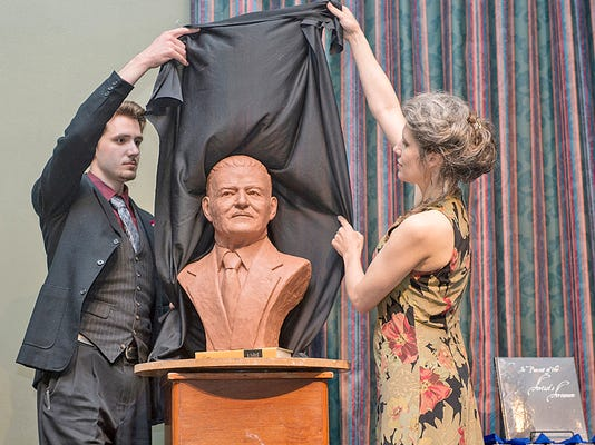 Mother and son unveil the bust of James Buchanan created for the University .jpg