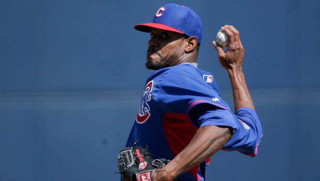 Chicago Cubs starting pitcher Edwin Jackson throws against the Milwaukee Brewers on March 14, 2015.