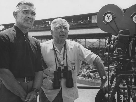 "Clark Gable and producer/director Clarence Brown look over the Indianapolis Motor Speedway before filming ""To Please a Lady"" in 1950."