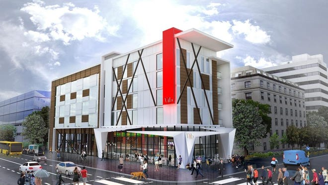 An exterior rendering of a Vib hotel. The rendering is not specific to Springfield.