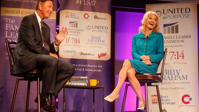 Kellyanne Conway, counselor to President Donald Trump, speaks with Bob Vander Plaats during the Family Leadership Summit on Saturday, July 15, 2017, in Des Moines.