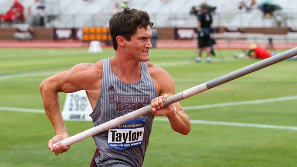 Mississippi State decathlete Zach Taylor competes in