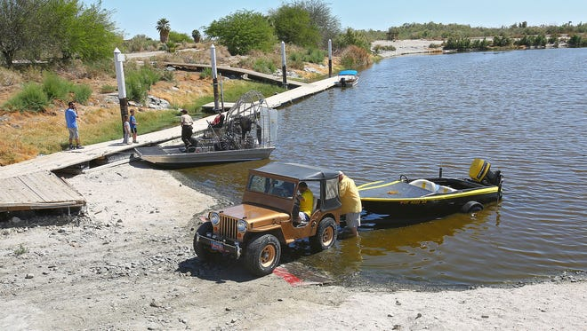 Visitors to the Salton Sea use the restored launch ramp area in Varner Harbor, March 24, 2016.