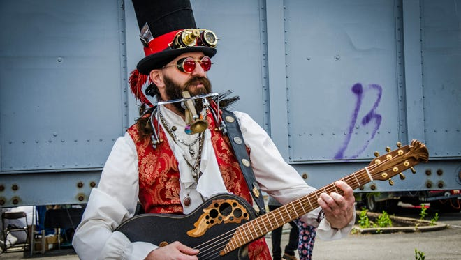 Professor Adam Smasher, a steampunk musician from Middlesex County whose band the Eternal Frontier covers songs with a Victorian vibe.