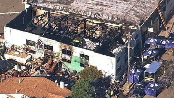 This Dec. 3, 2016, file image from video provided by KGO-TV shows the Ghost Ship Warehouse after a fire swept through the building in Oakland,